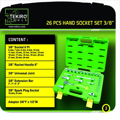 TEKIRO: SET HAND-SOCKET 3/8