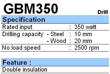 BOSCH: DRILL GBM 350