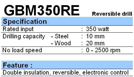 BOSCH: DRILL GBM 350 RE