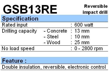 BOSCH: IMPACT DRILL GSB 13 RE
