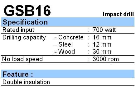 BOSCH: IMPACT DRILL GSB 16