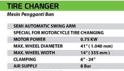 TEKIRO : TIRE CHANGER MOTORCYLE